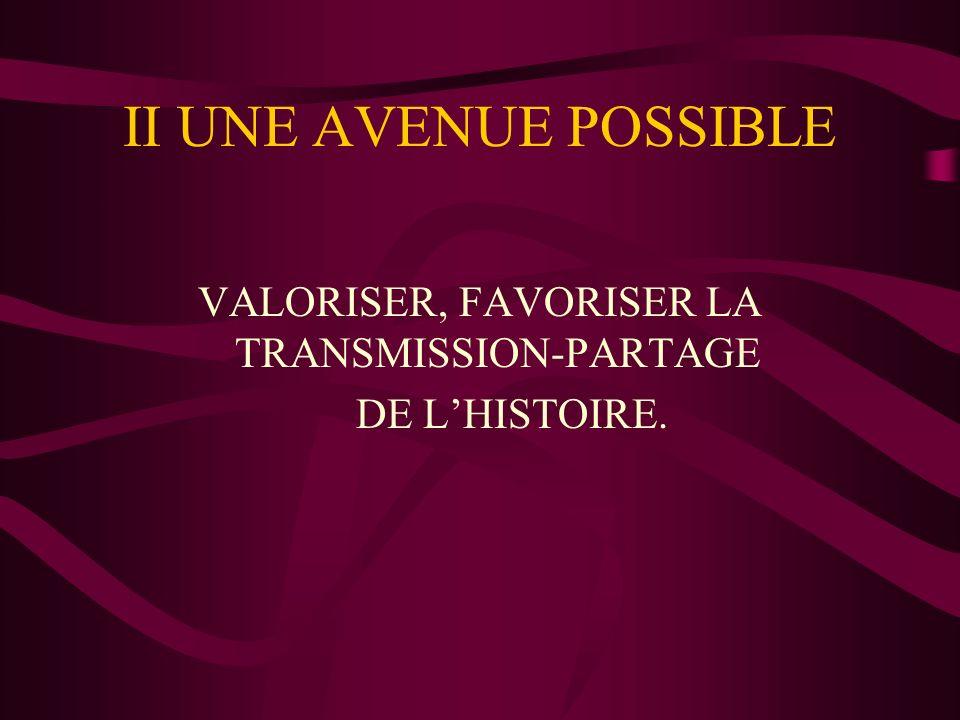 VALORISER, FAVORISER LA TRANSMISSION-PARTAGE