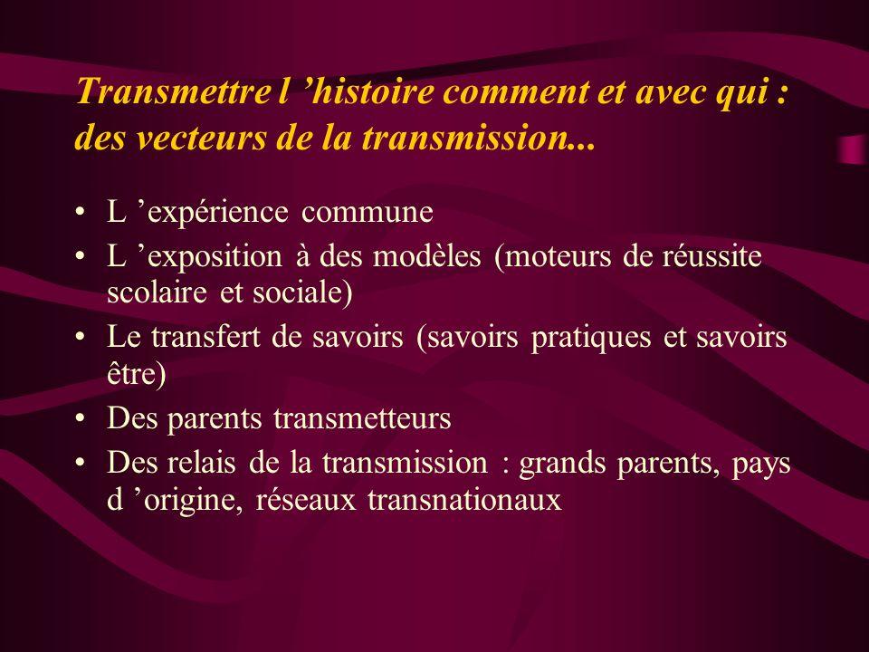 Transmettre l 'histoire comment et avec qui : des vecteurs de la transmission...