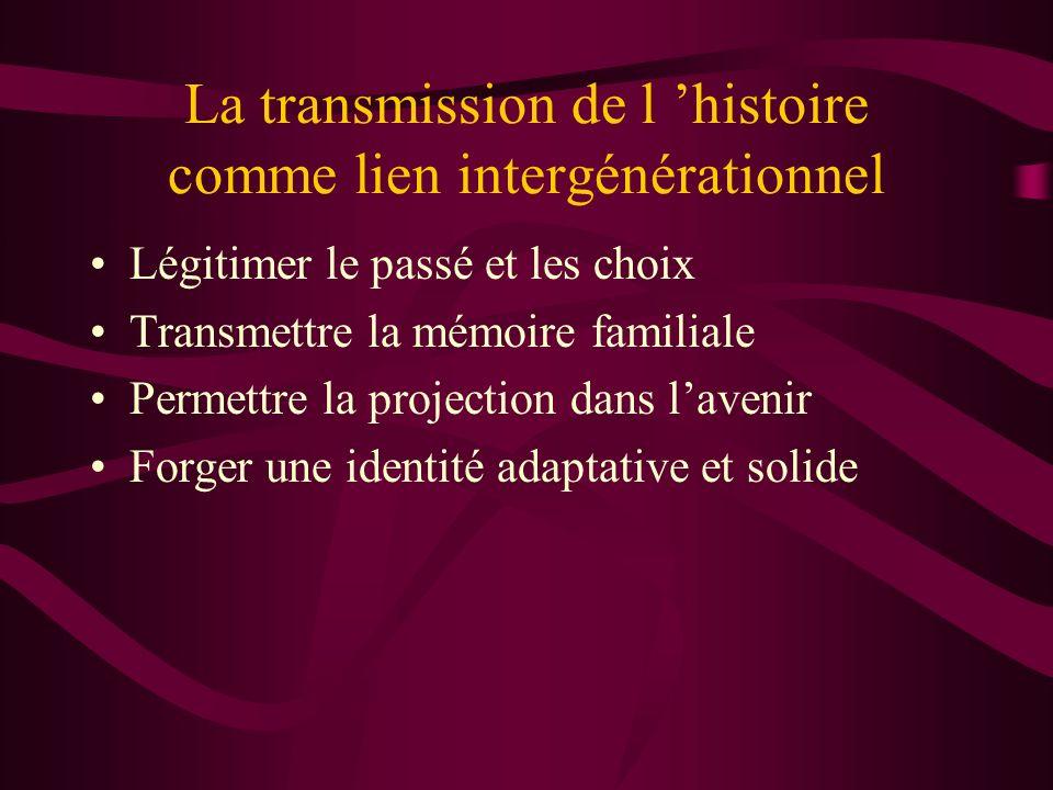 La transmission de l 'histoire comme lien intergénérationnel