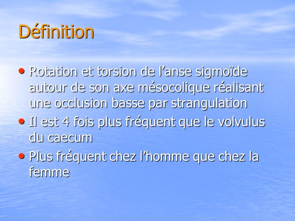 Définition Rotation et torsion de l'anse sigmoïde autour de son axe mésocolique réalisant une occlusion basse par strangulation.