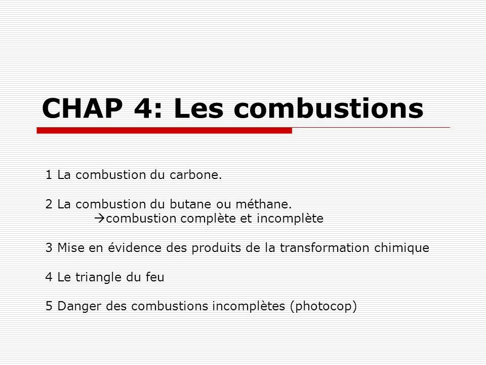 CHAP 4: Les combustions 1 La combustion du carbone.