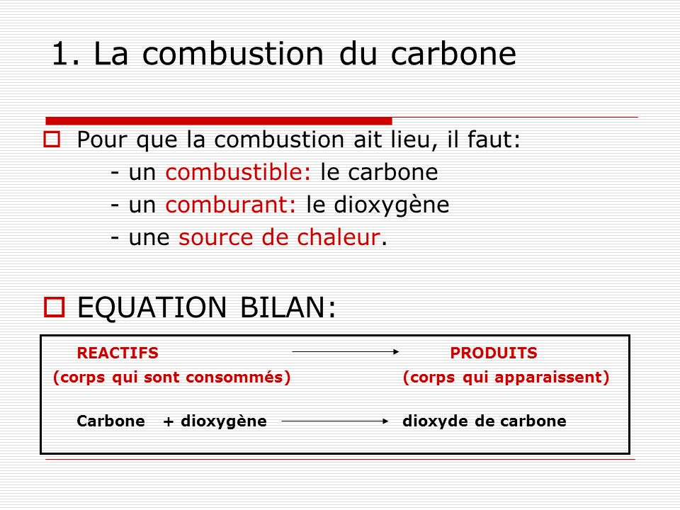 1. La combustion du carbone