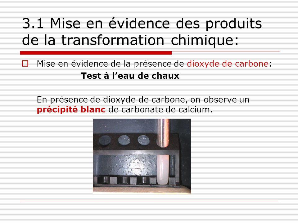 3.1 Mise en évidence des produits de la transformation chimique: