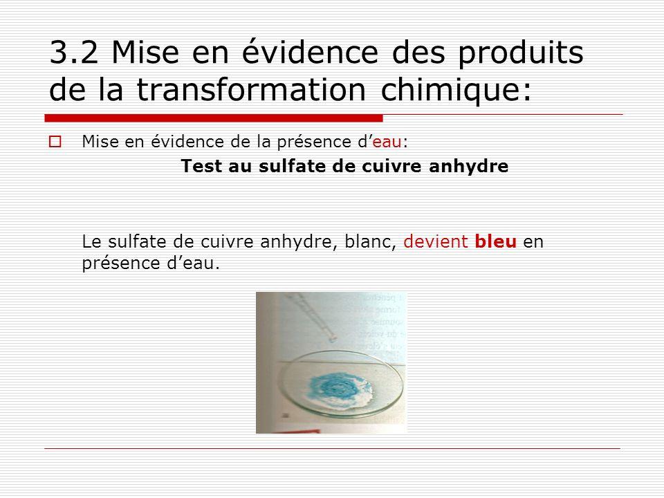 3.2 Mise en évidence des produits de la transformation chimique: