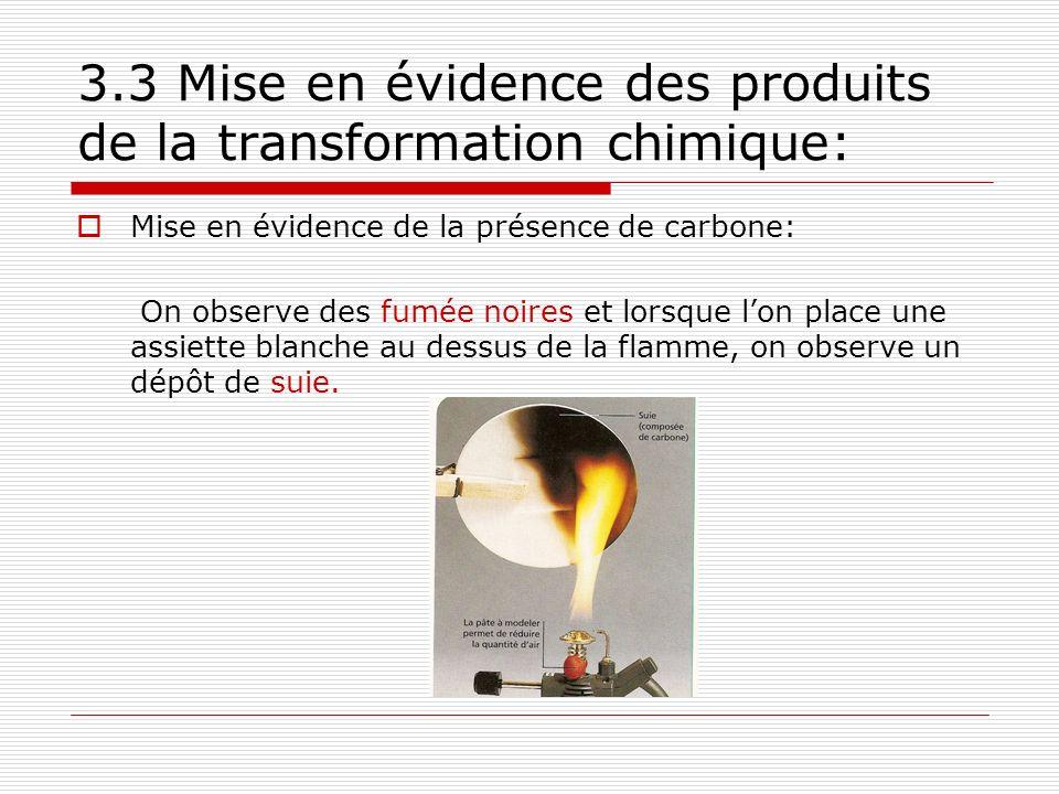 3.3 Mise en évidence des produits de la transformation chimique: