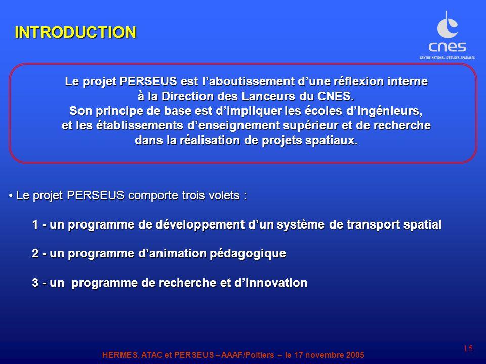 INTRODUCTION Le projet PERSEUS est l'aboutissement d'une réflexion interne. à la Direction des Lanceurs du CNES.
