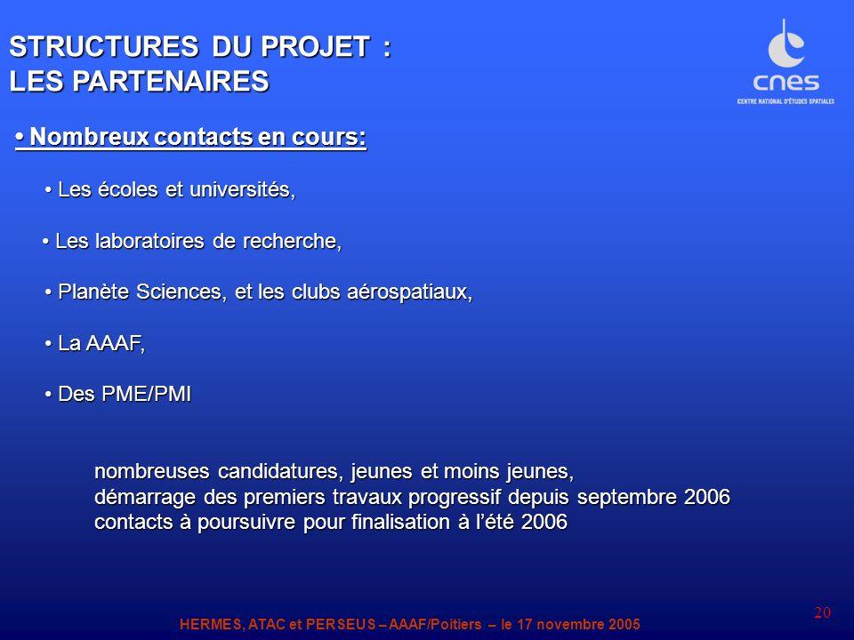 STRUCTURES DU PROJET : LES PARTENAIRES • Nombreux contacts en cours: