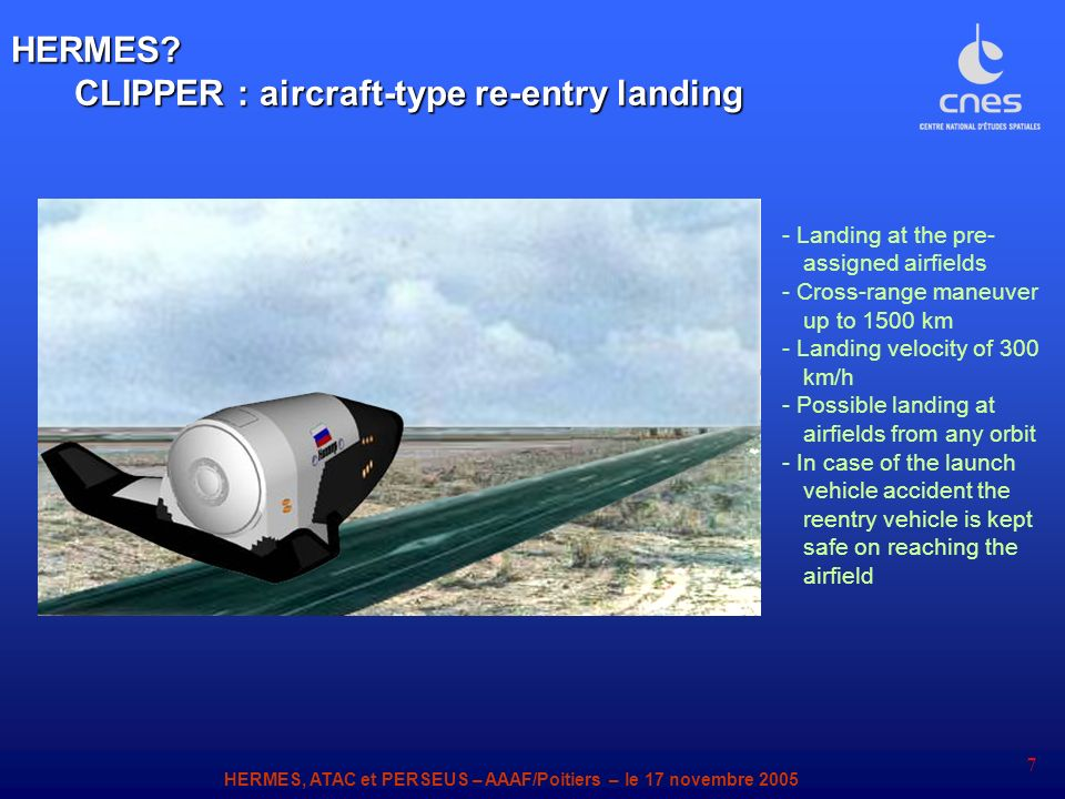 CLIPPER : aircraft-type re-entry landing