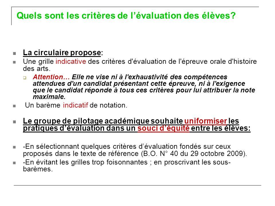 Quels sont les critères de l'évaluation des élèves