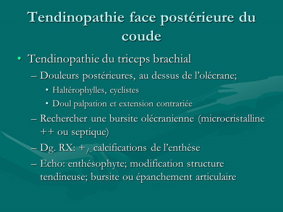 Tendinopathie face postérieure du coude