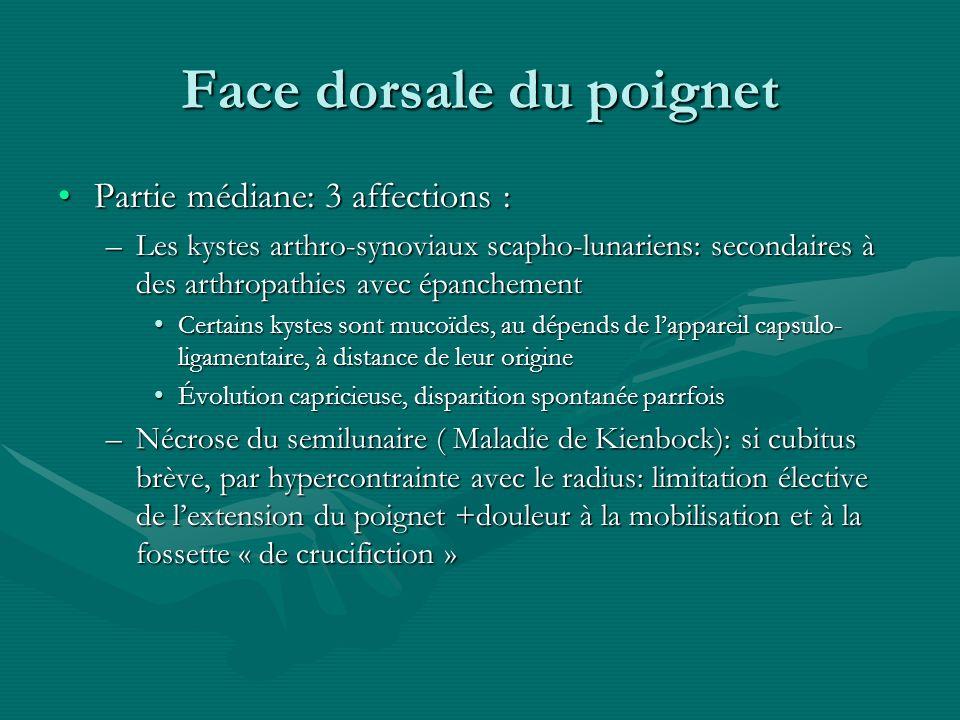 Face dorsale du poignet