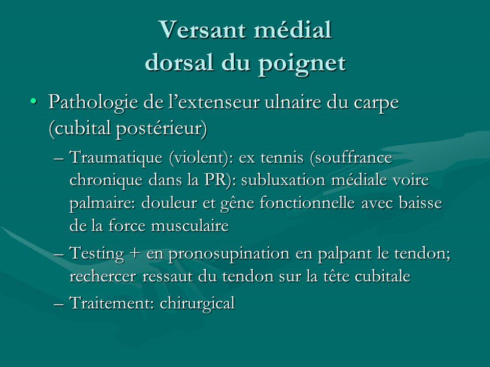 Versant médial dorsal du poignet