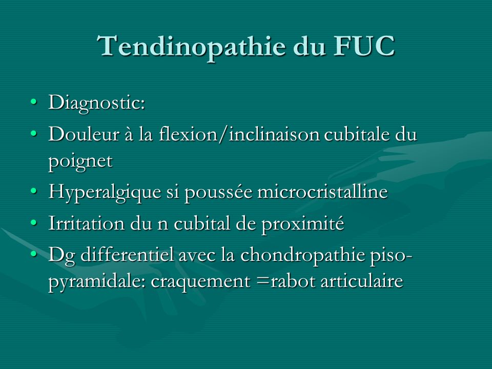 Tendinopathie du FUC Diagnostic: