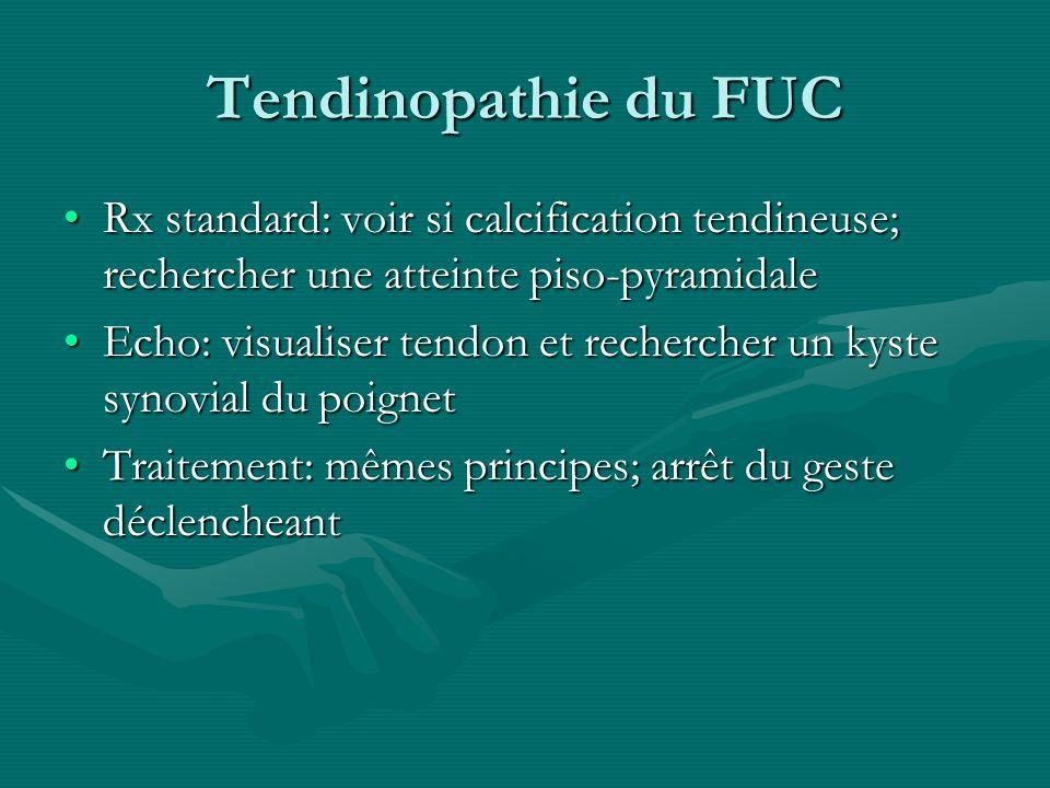 Tendinopathie du FUC Rx standard: voir si calcification tendineuse; rechercher une atteinte piso-pyramidale.