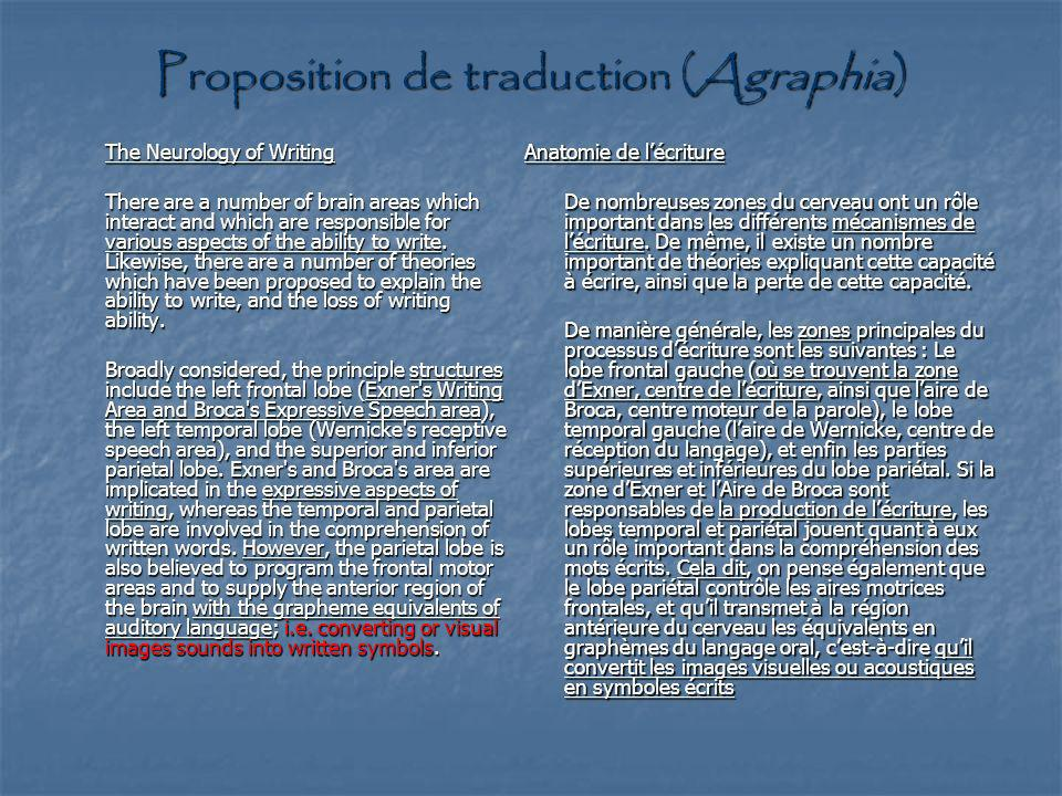 Proposition de traduction (Agraphia)