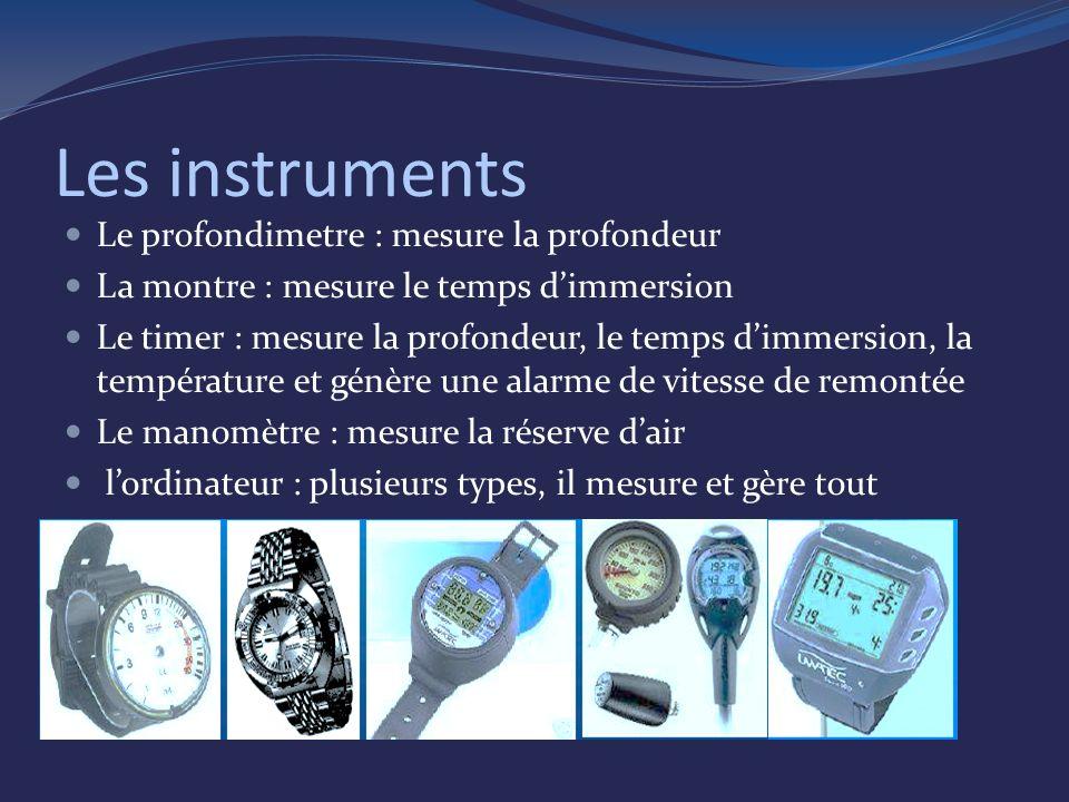 Les instruments Le profondimetre : mesure la profondeur