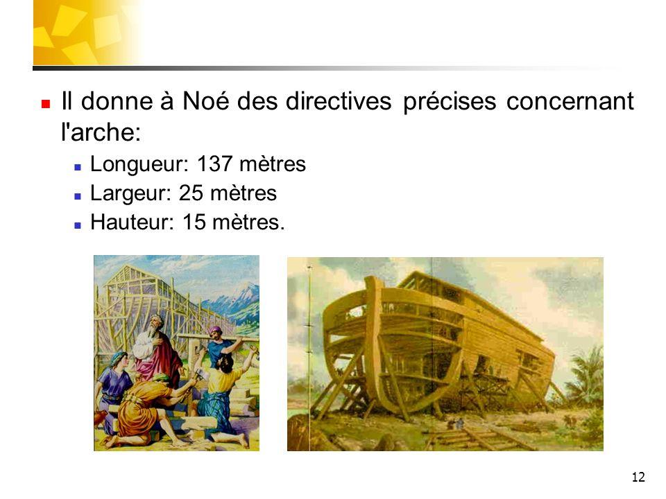 Il donne à Noé des directives précises concernant l arche: