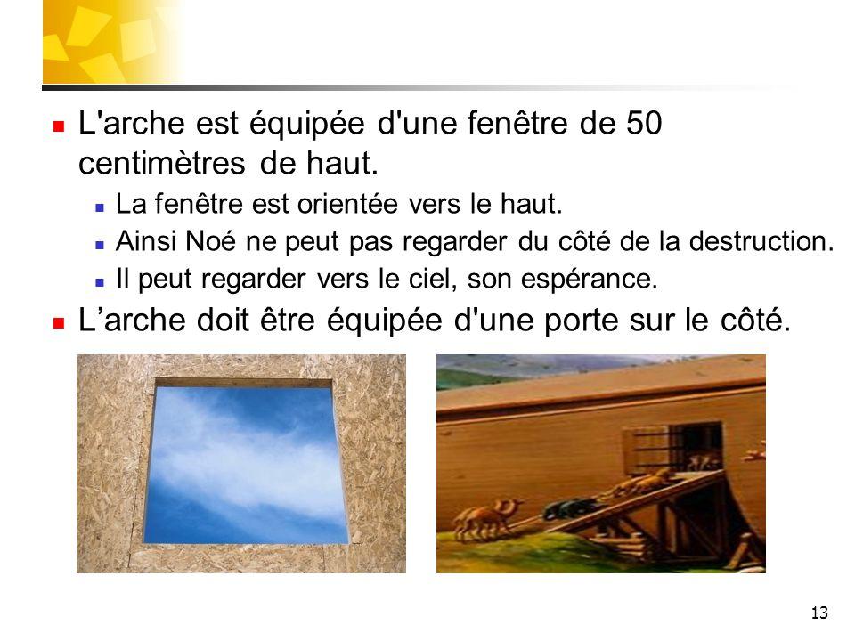 L arche est équipée d une fenêtre de 50 centimètres de haut.