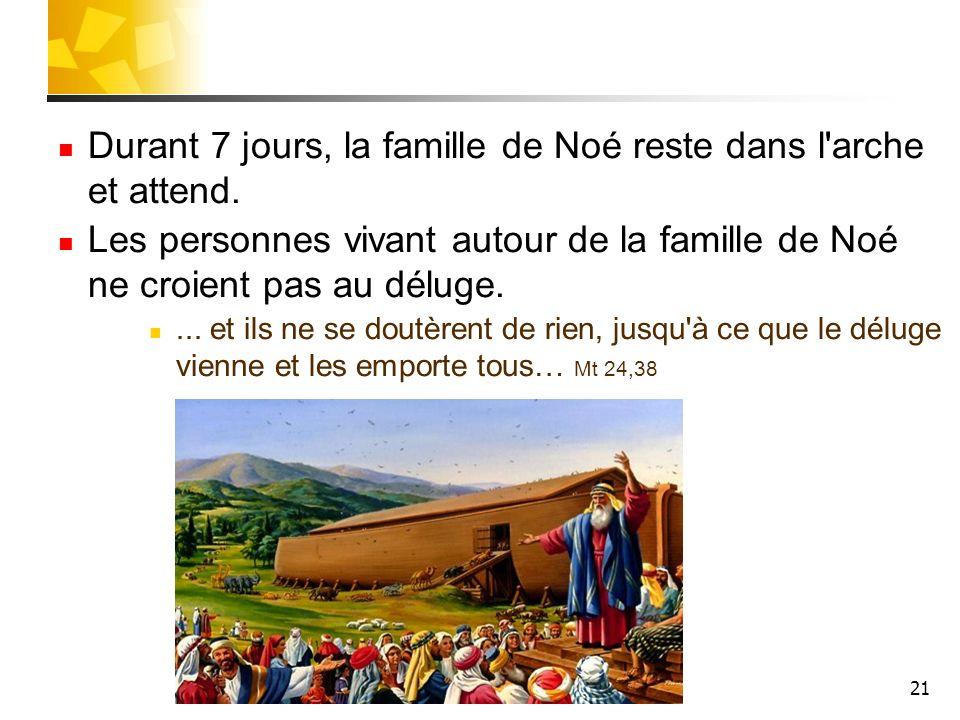 Durant 7 jours, la famille de Noé reste dans l arche et attend.