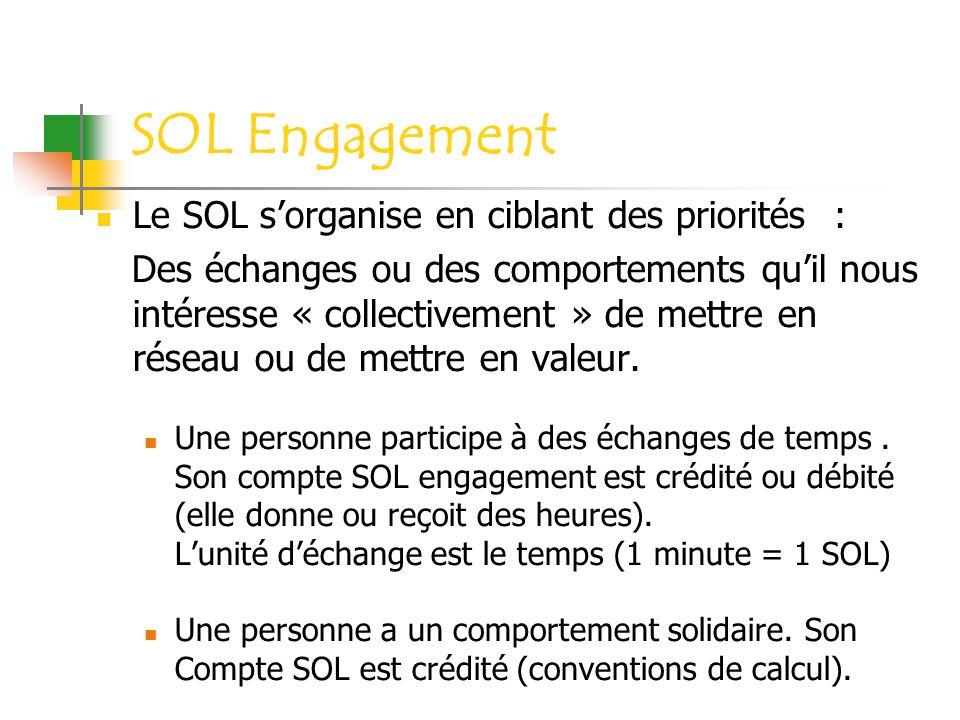SOL Engagement Le SOL s'organise en ciblant des priorités :