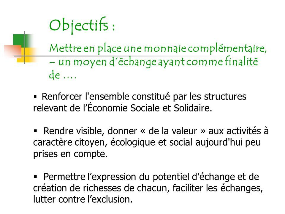 Objectifs : Mettre en place une monnaie complémentaire, – un moyen d'échange ayant comme finalité de ….