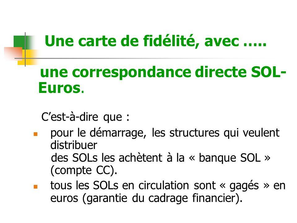 Une carte de fidélité, avec ….. une correspondance directe SOL- Euros.