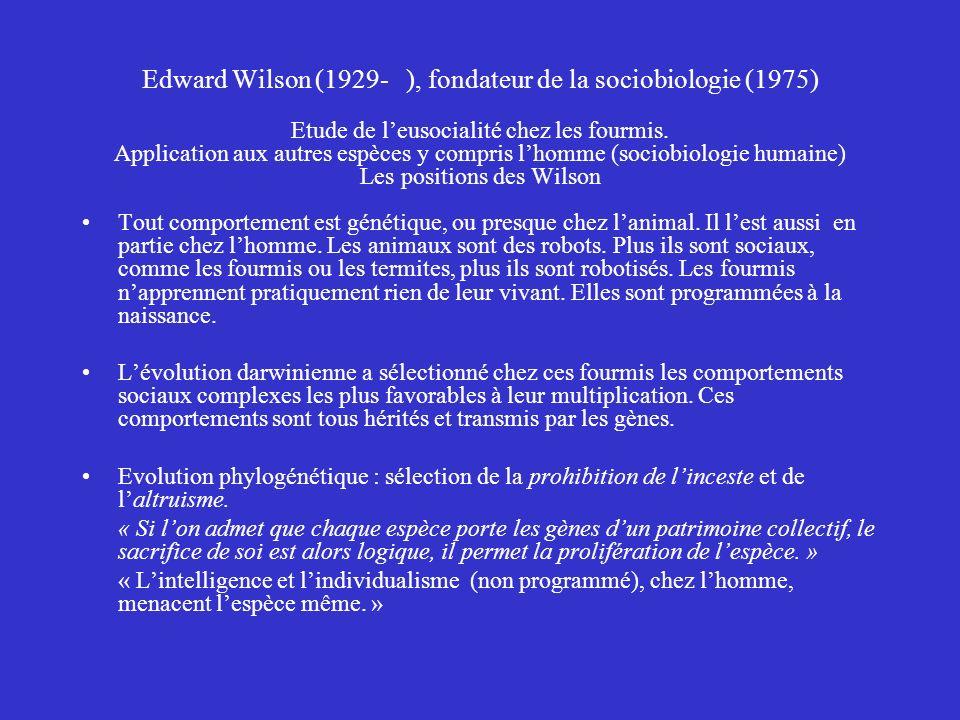 Edward Wilson (1929- ), fondateur de la sociobiologie (1975) Etude de l'eusocialité chez les fourmis. Application aux autres espèces y compris l'homme (sociobiologie humaine) Les positions des Wilson