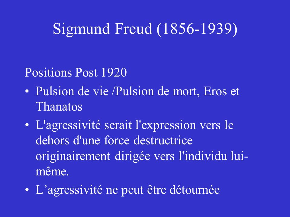 Sigmund Freud (1856-1939) Positions Post 1920