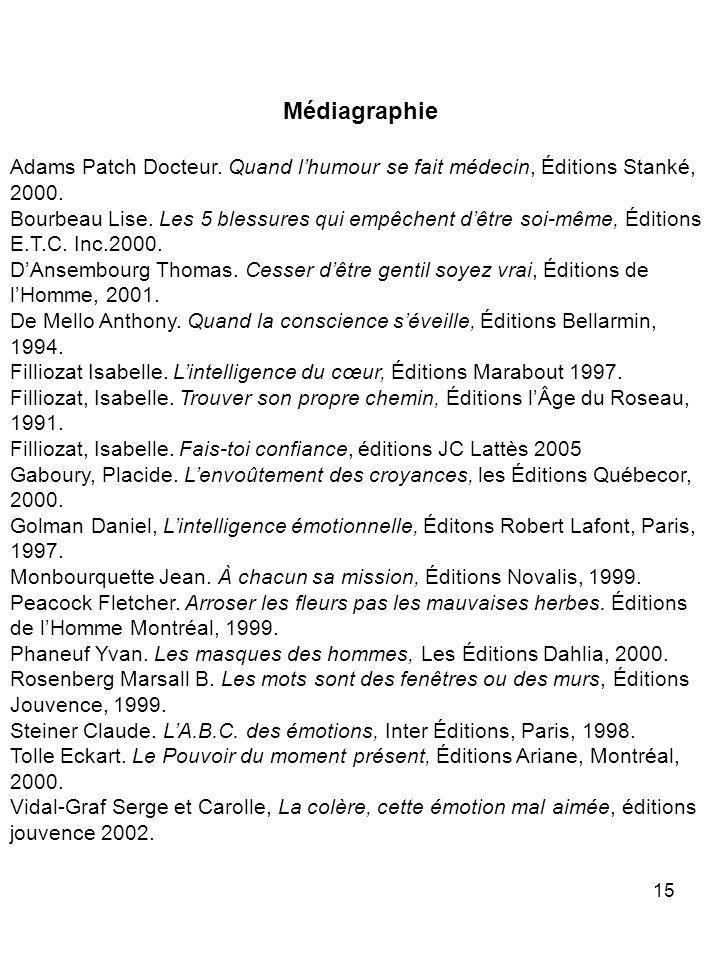 Médiagraphie Adams Patch Docteur. Quand l'humour se fait médecin, Éditions Stanké, 2000.