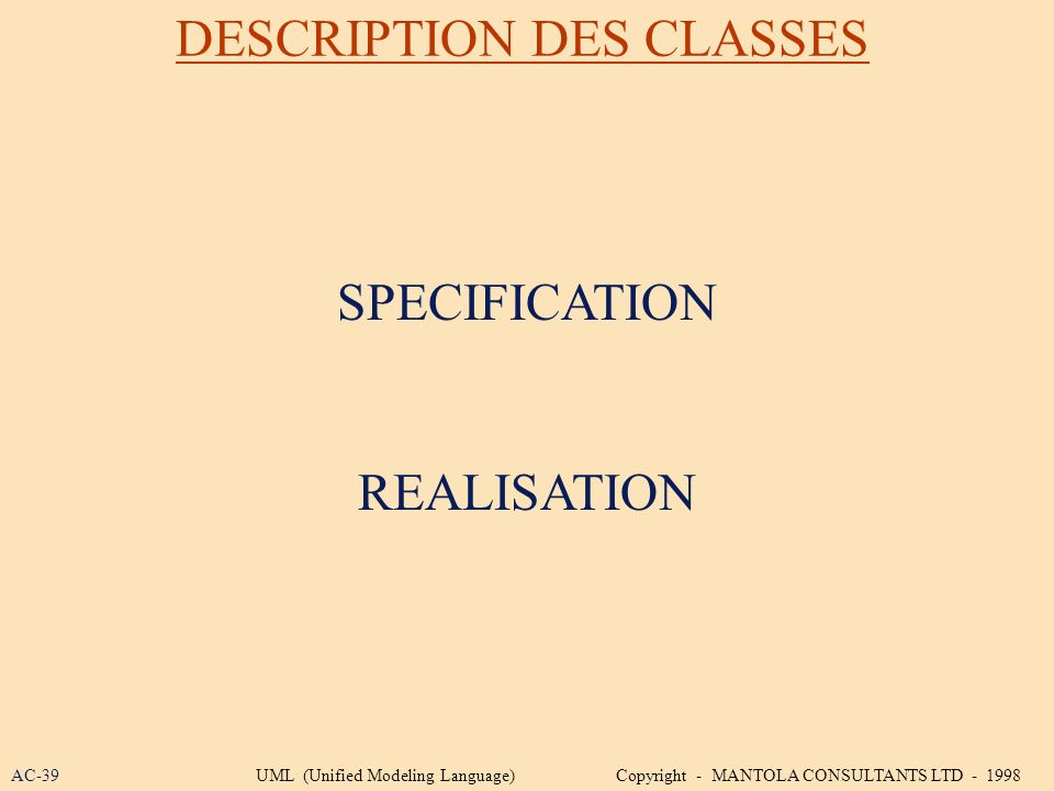 DESCRIPTION DES CLASSES