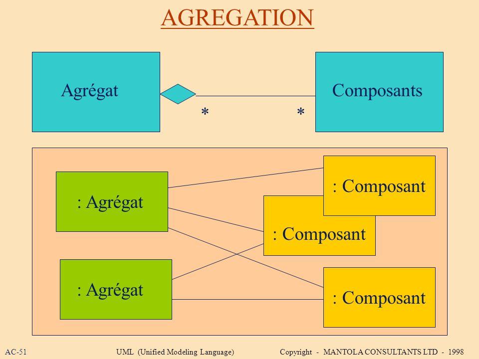 AGREGATION Agrégat Composants * * : Composant : Agrégat : Composant