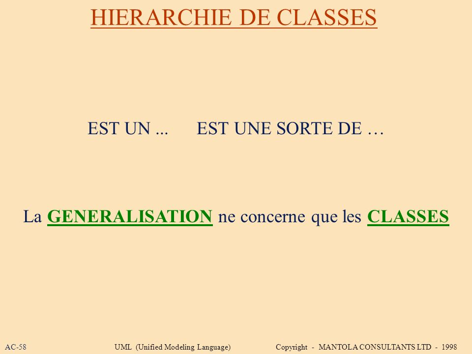 La GENERALISATION ne concerne que les CLASSES