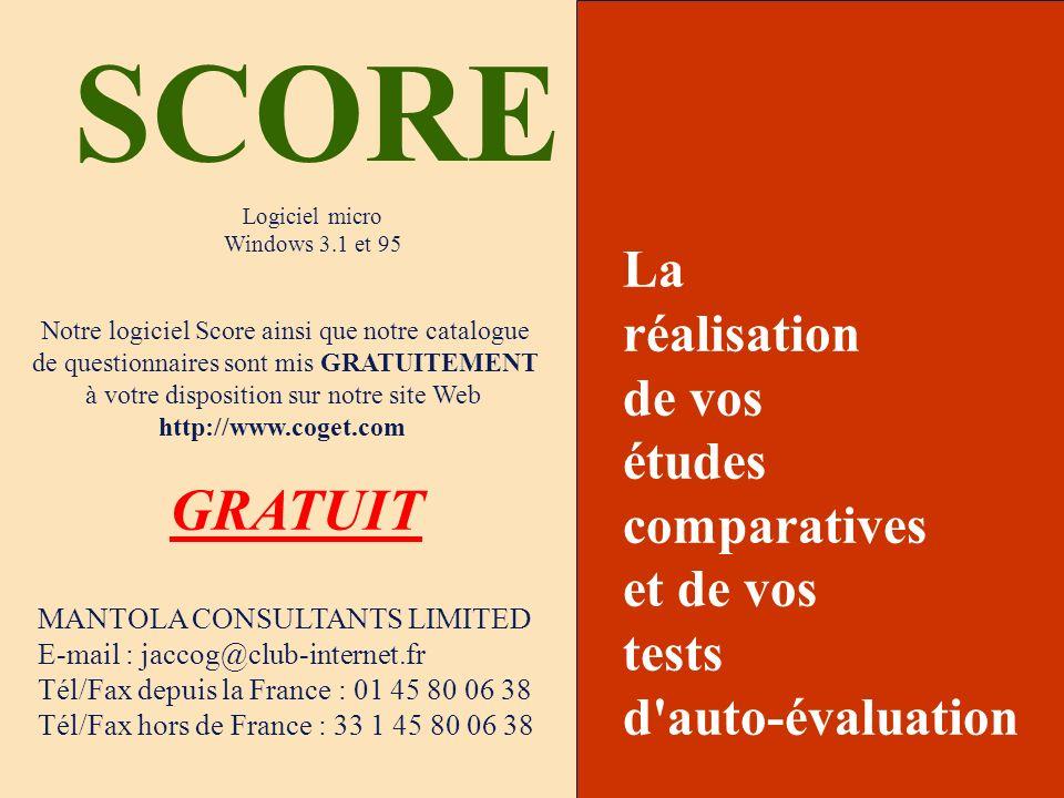 SCORE GRATUIT La réalisation de vos études comparatives et de vos