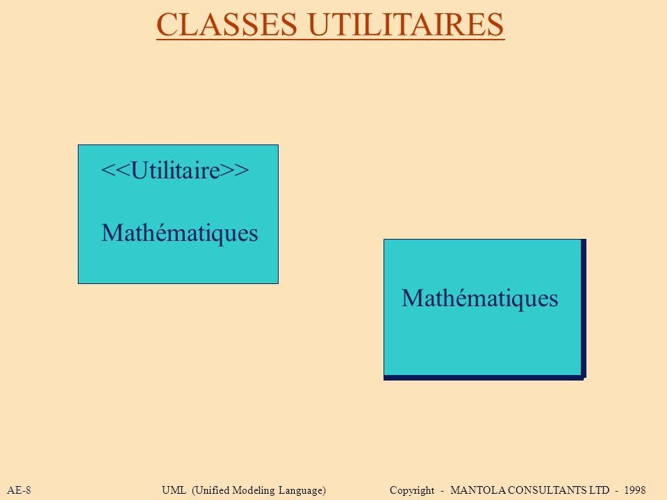CLASSES UTILITAIRES <<Utilitaire>> Mathématiques