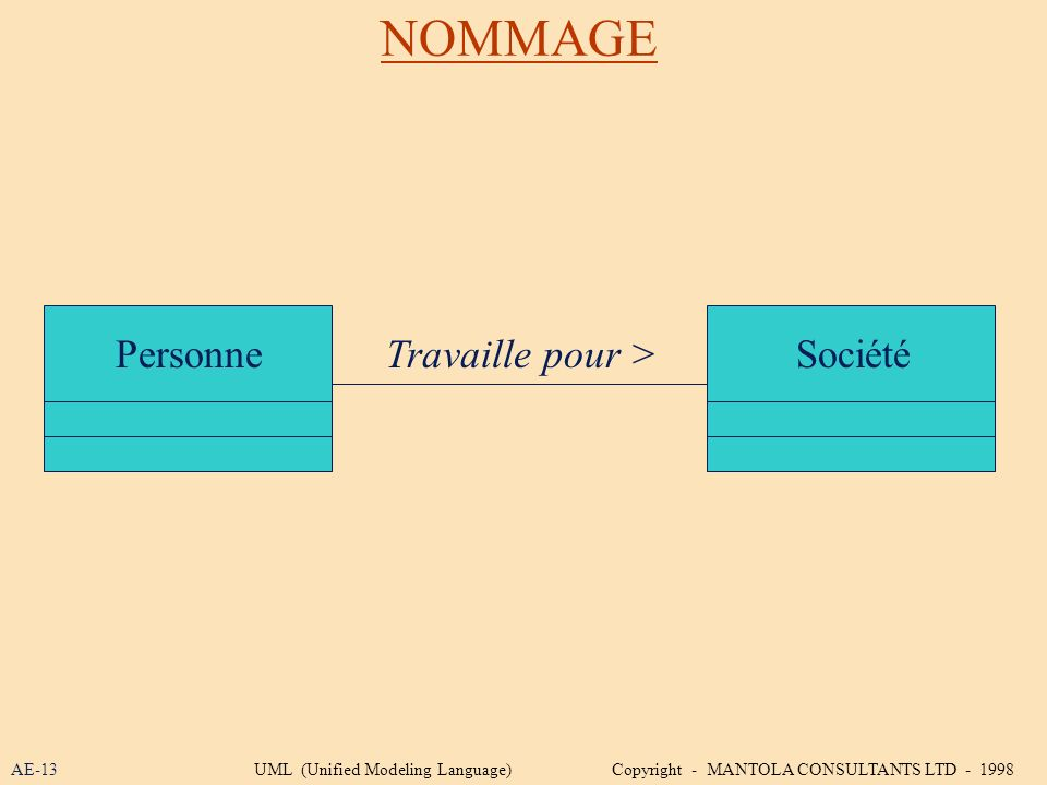 NOMMAGE Personne Travaille pour > Société AE-13