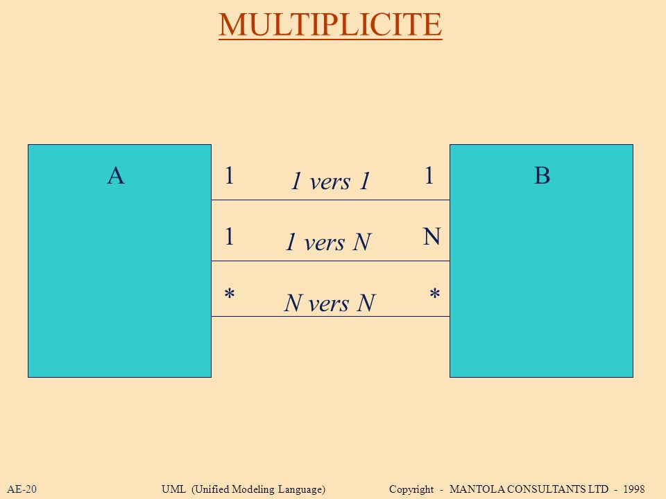 MULTIPLICITE A 1 1 B 1 vers 1 1 N 1 vers N * * N vers N AE-20