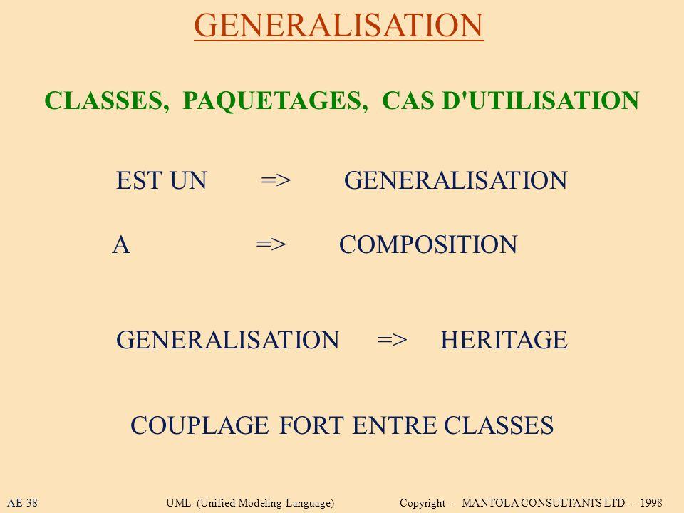 CLASSES, PAQUETAGES, CAS D UTILISATION