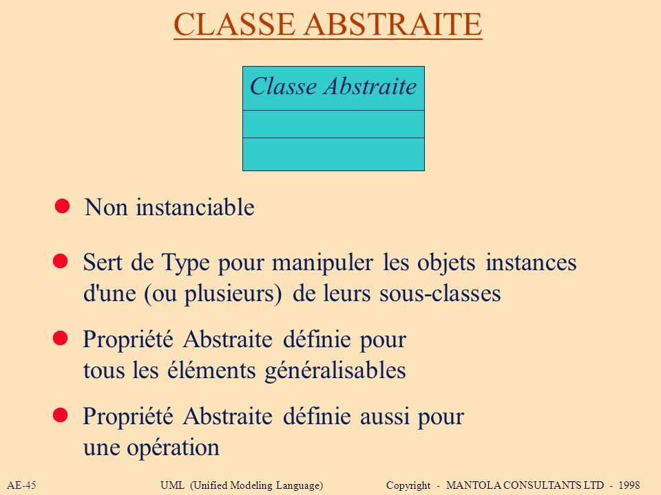 CLASSE ABSTRAITE Classe Abstraite  Non instanciable