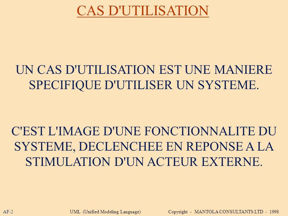 CAS D UTILISATION UN CAS D UTILISATION EST UNE MANIERE