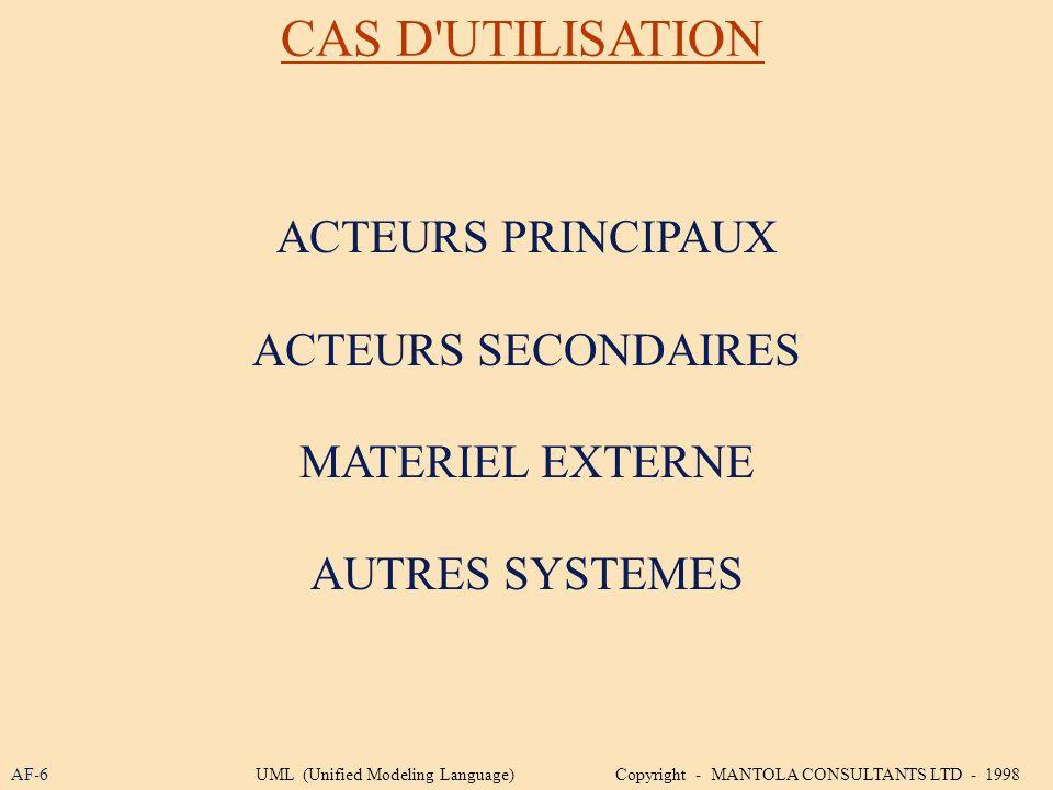 CAS D UTILISATION ACTEURS PRINCIPAUX ACTEURS SECONDAIRES