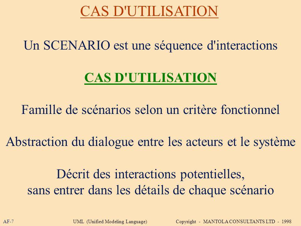 CAS D UTILISATION Un SCENARIO est une séquence d interactions