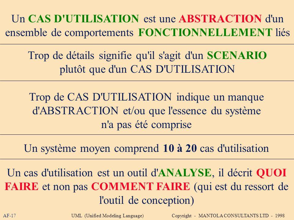 Un CAS D UTILISATION est une ABSTRACTION d un
