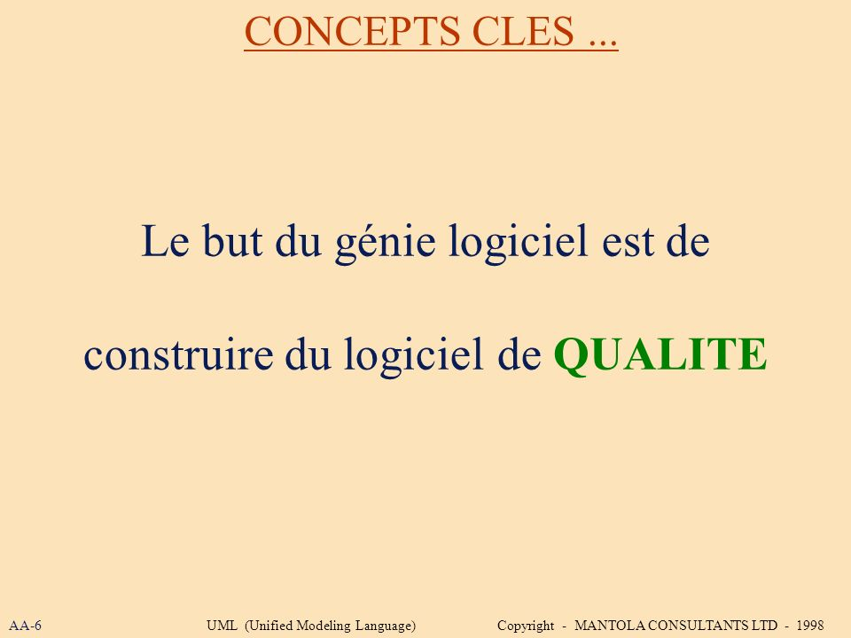 Le but du génie logiciel est de construire du logiciel de QUALITE