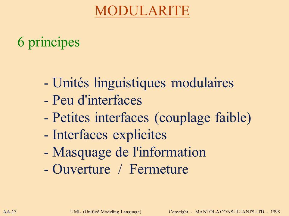 - Unités linguistiques modulaires - Peu d interfaces