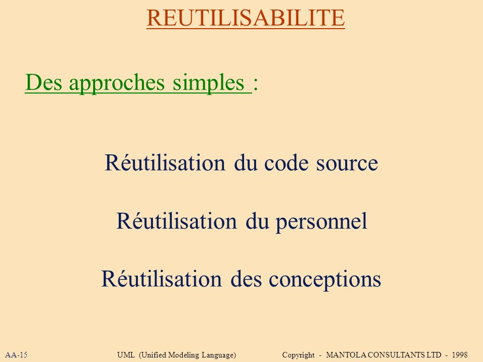 Des approches simples :