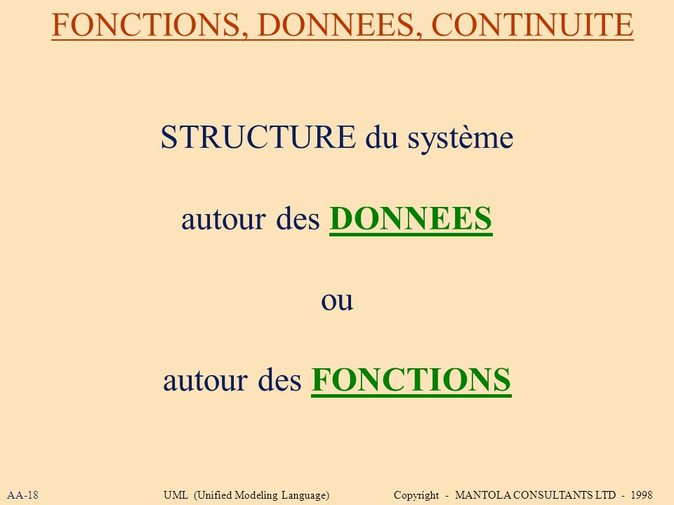FONCTIONS, DONNEES, CONTINUITE