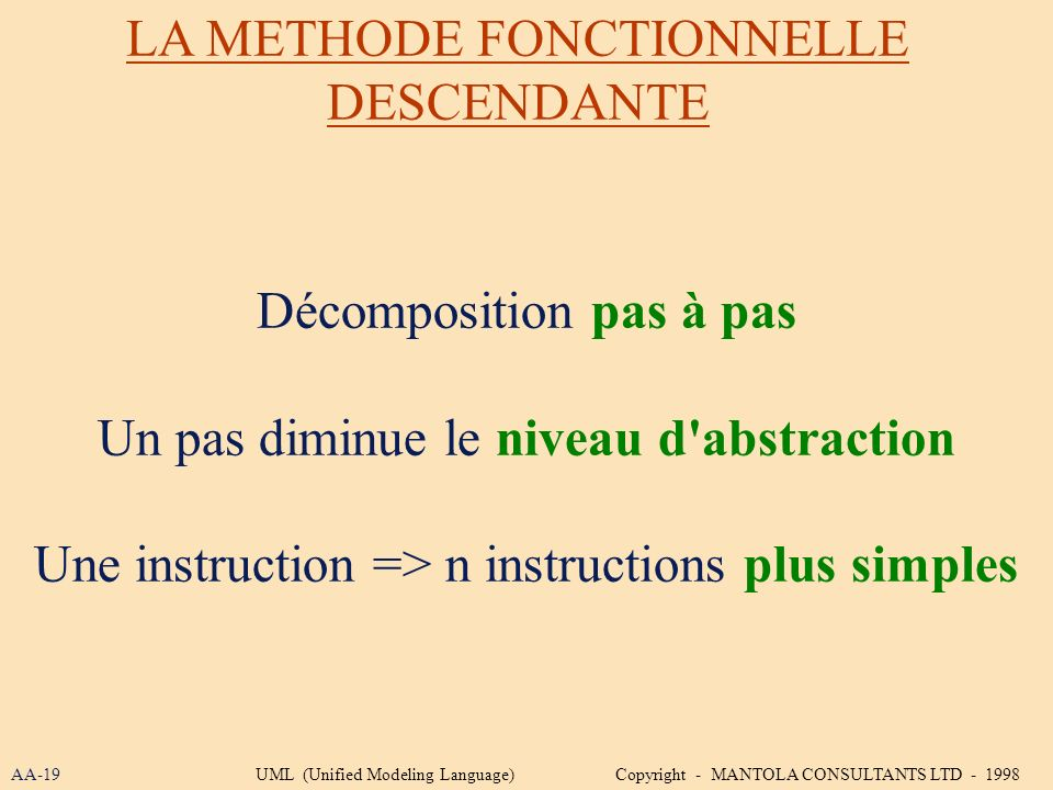 LA METHODE FONCTIONNELLE DESCENDANTE