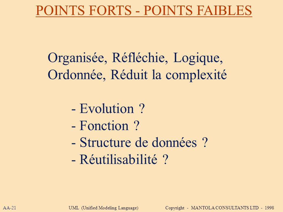 POINTS FORTS - POINTS FAIBLES