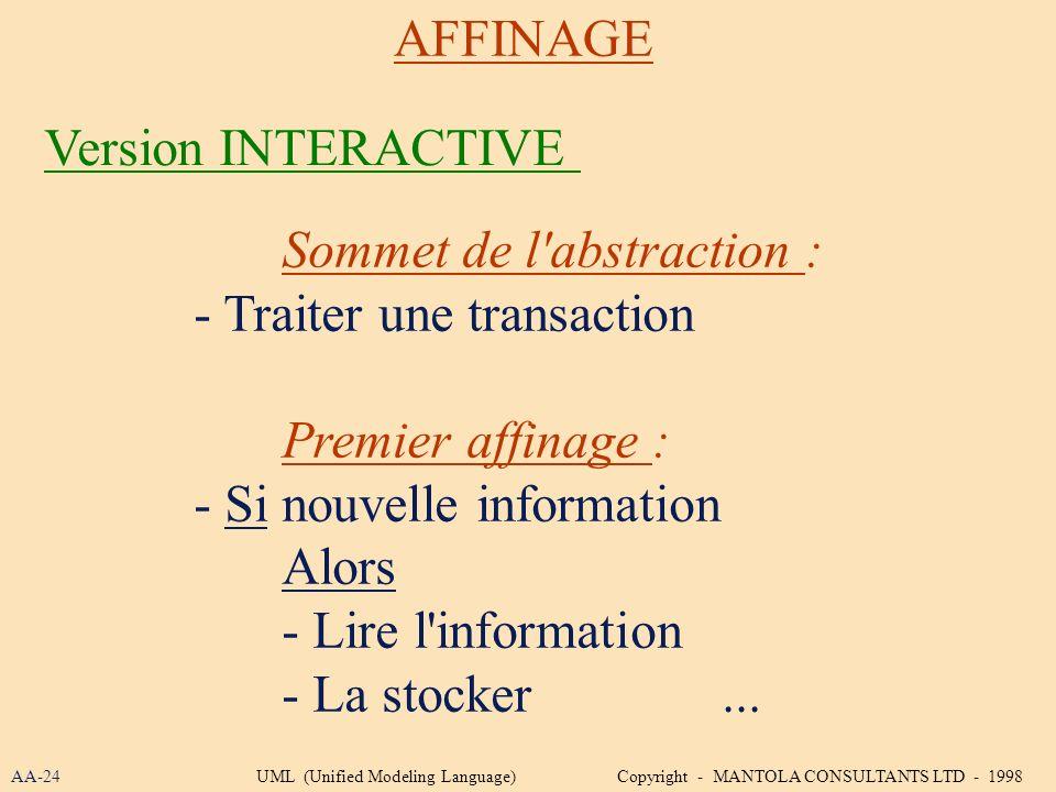 Sommet de l abstraction : - Traiter une transaction Premier affinage :