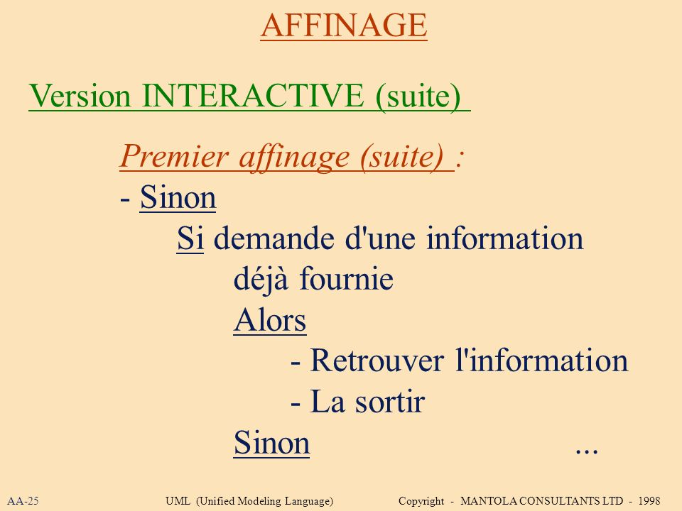 Version INTERACTIVE (suite)